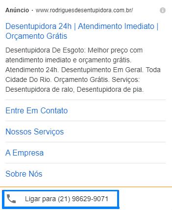 Extensão de Chamadas - google ads