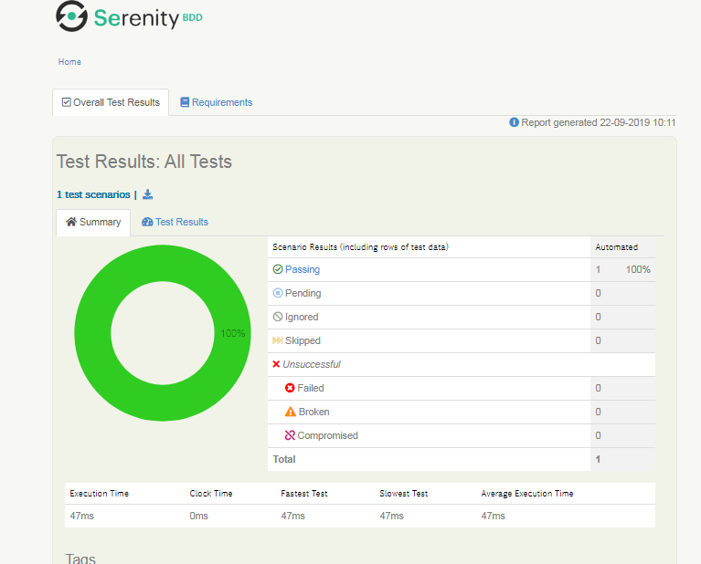 Serenity output report