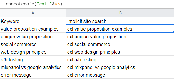 creating an implicit site search in a spreadsheet based on existing keywords.