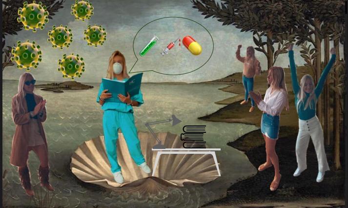 """Título: """"Presentación de la vacuna Covid-19"""" Obra del pintor Sandro Botticelli """"El nacimiento de Venus""""  """"El nacimiento de la unidad"""""""