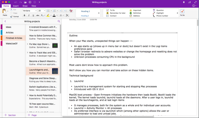 Manage a notebook with OneNote