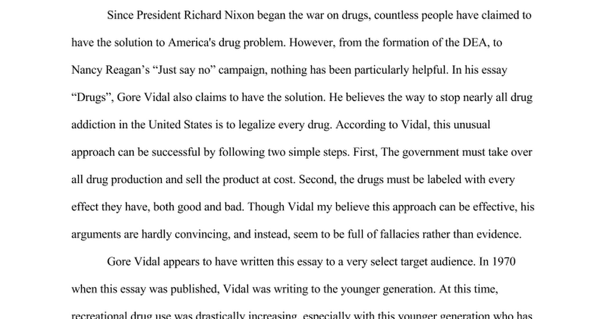 the war on drugs page two essay