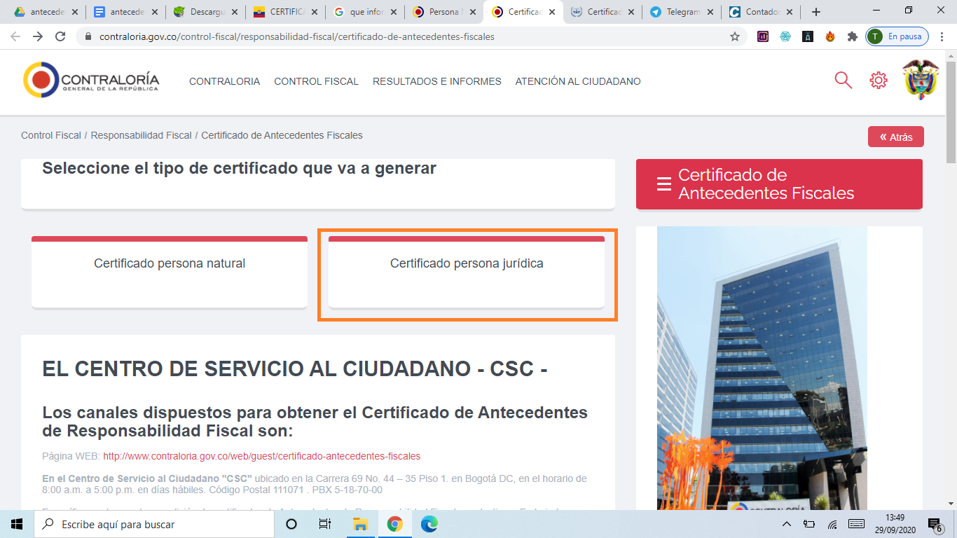 Descargar Certificado Contraloría como Persona Jurídica Paso 1