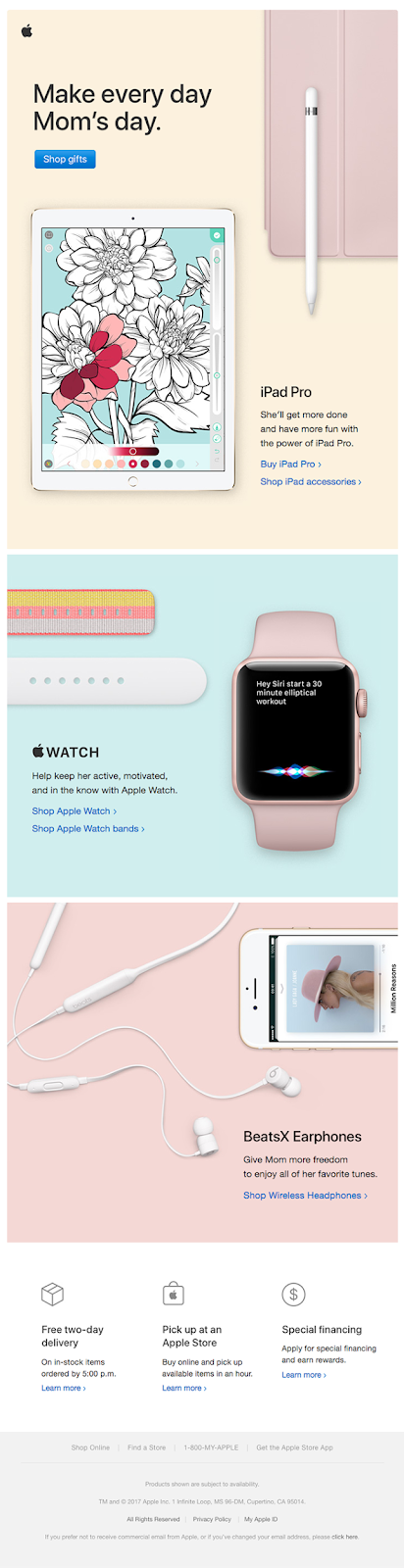 Mothers day email template from apple