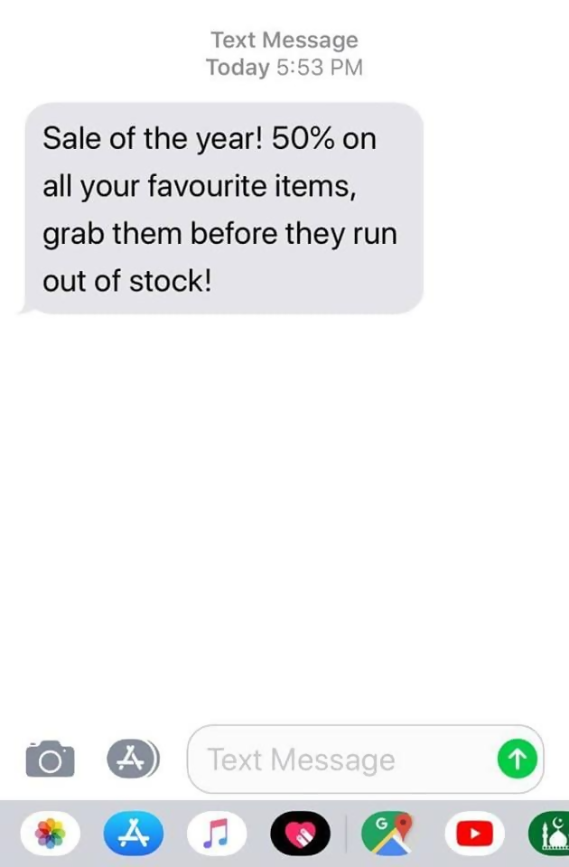 retail marketing text message
